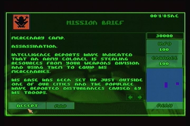 Syndicate 3DO Selecting a mission.
