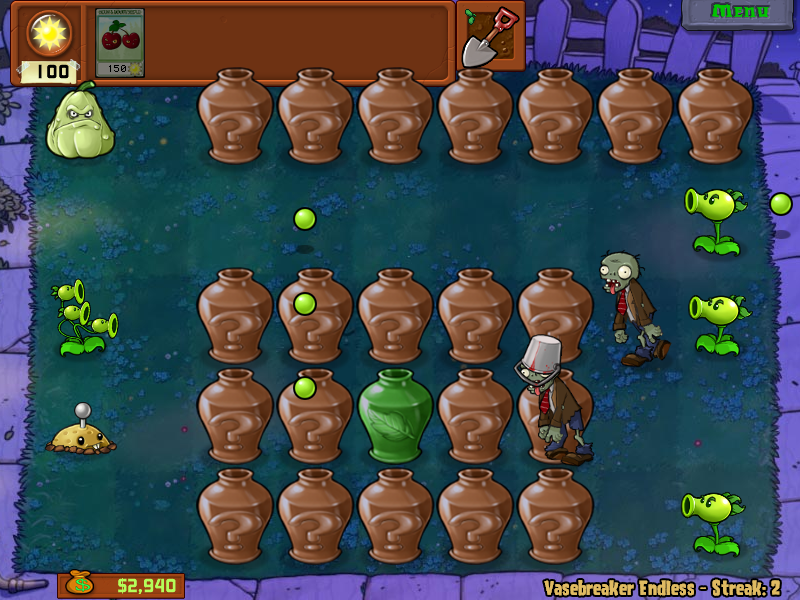 Plants vs. Zombies Windows Vasebreaker mode: Smash a vase to reveal a plant or a zombie.