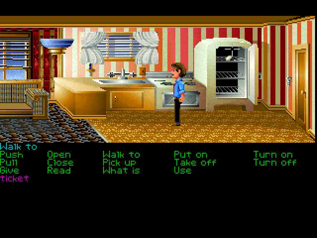 Zak McKracken and the Alien Mindbenders FM Towns Lots of stuff to do in Zak's apartment... just pay attention to everything