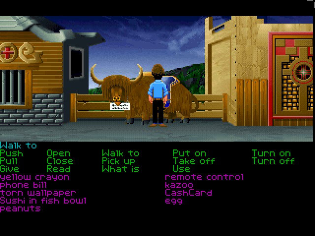 Zak McKracken and the Alien Mindbenders FM Towns Chatting with a yak in Nepal :)