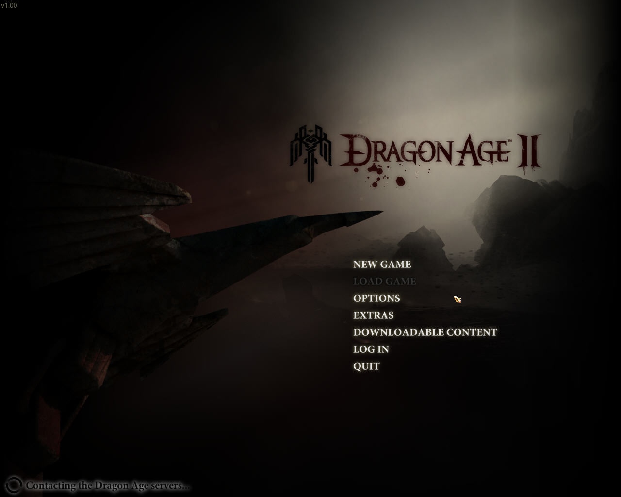 Dragon Age II Windows Title screen + Main menu