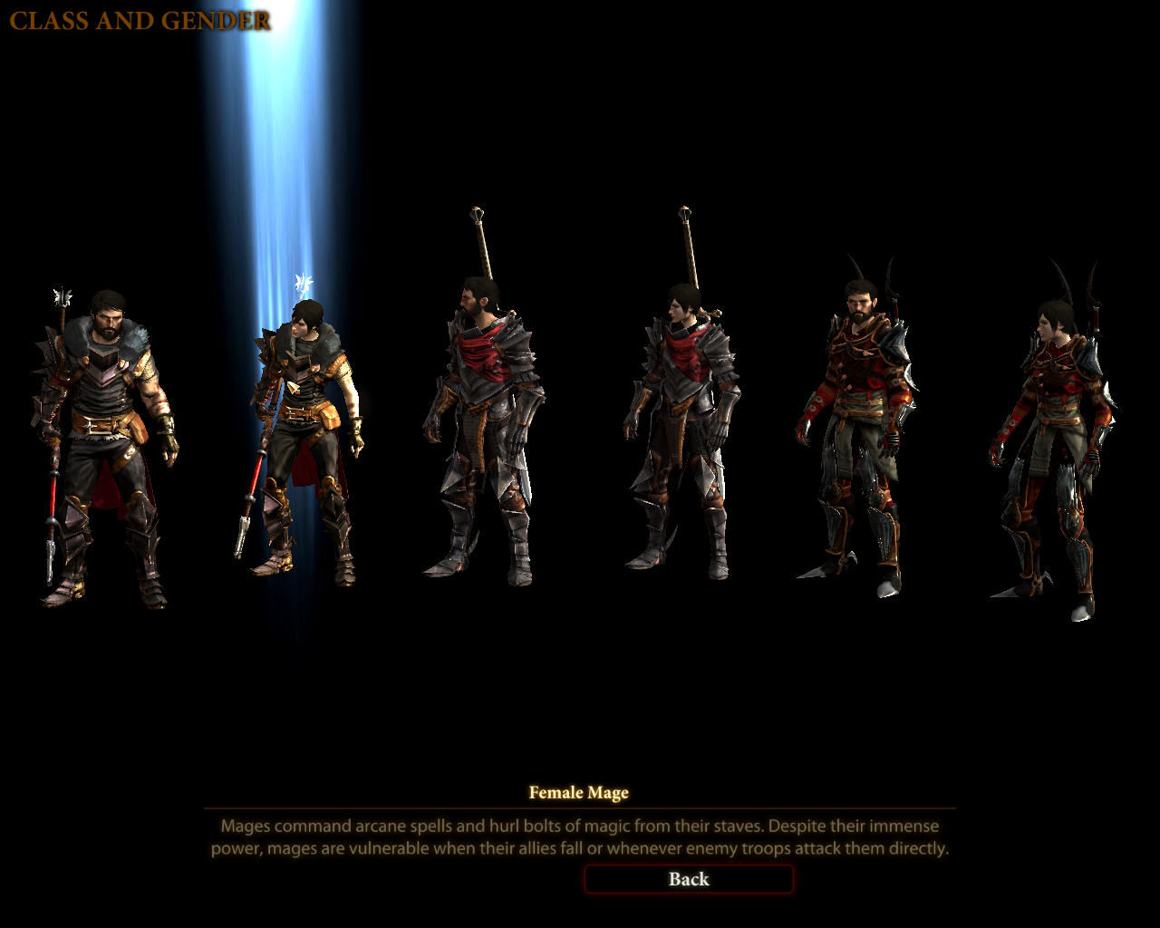 Dragon Age II Windows Choose the character class