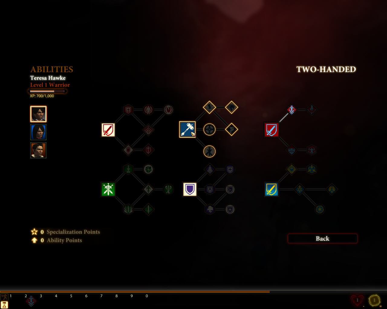 Dragon Age II Windows Ability tree for a warrior