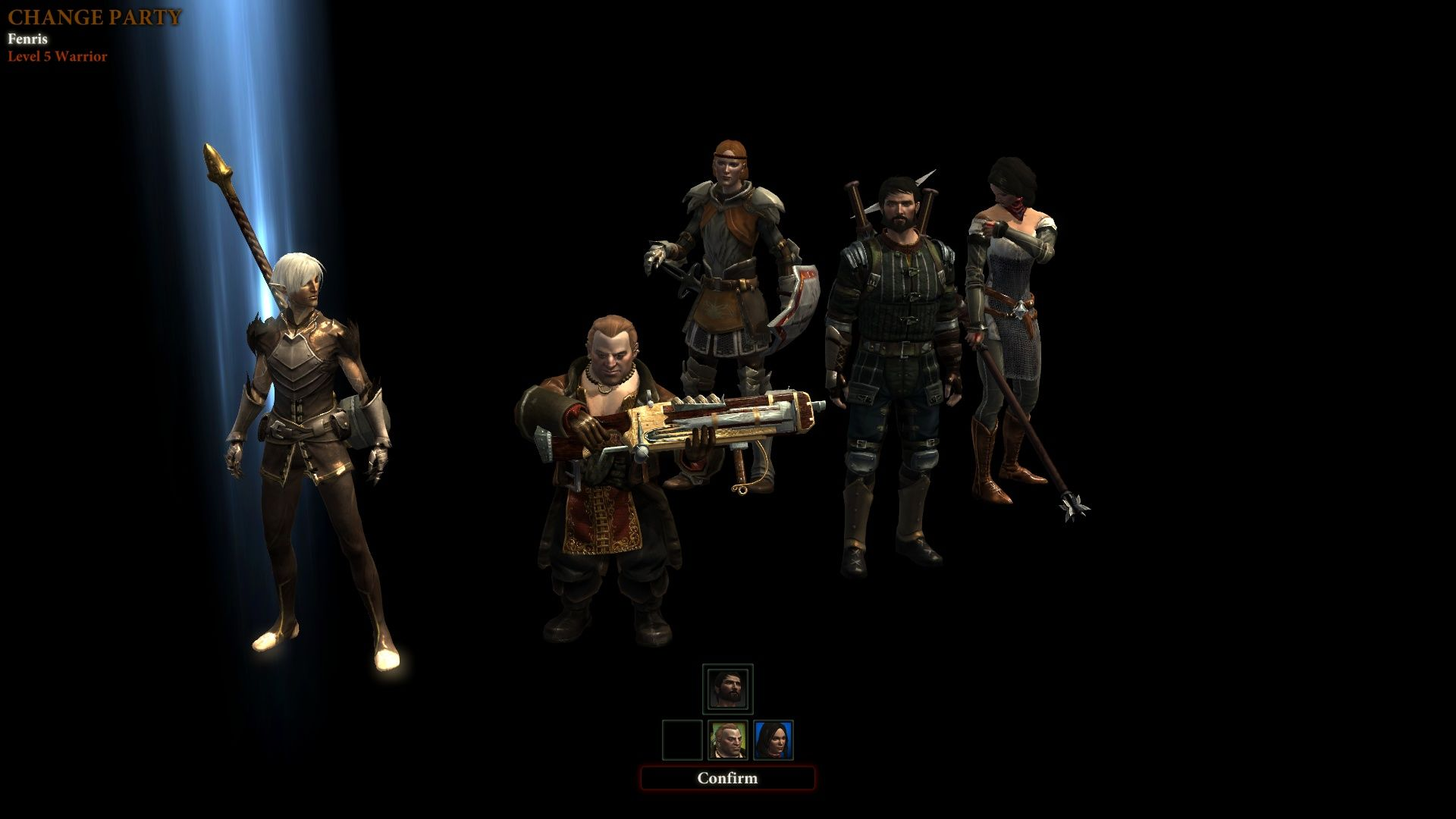 Dragon Age II Windows Party selection screen.