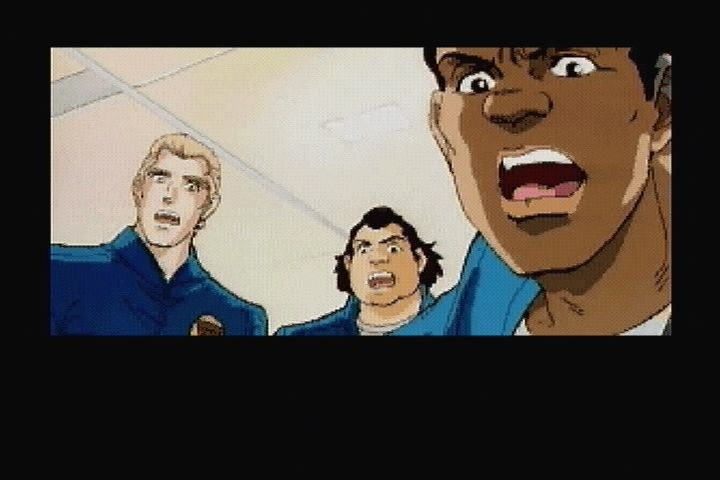 Policenauts 3DO The rest of the crew watches Ingram's accident.