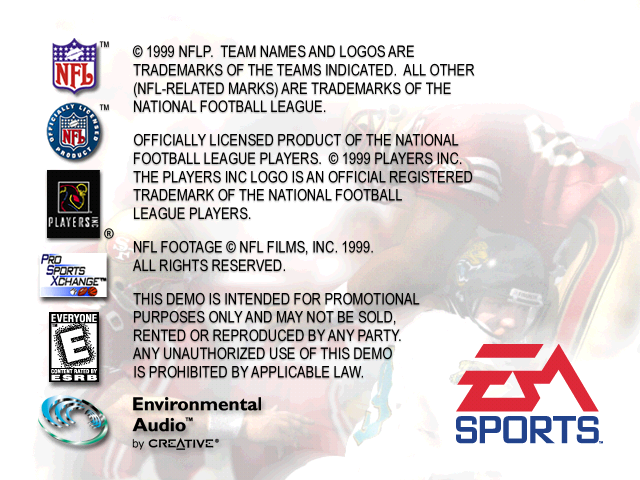 Madden NFL 2000 Windows Copyright screen
