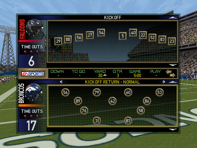 Madden NFL 2000 Windows Play selection