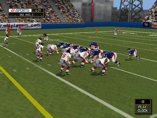 Madden NFL 2000 Windows The sideline camera view.