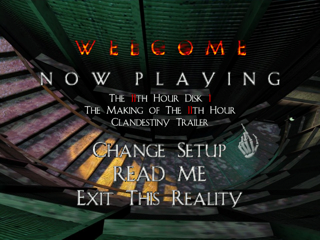The 11th Hour DOS The main menu
