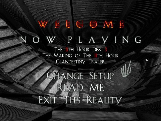 The 11th Hour DOS The main menu in spooky mode