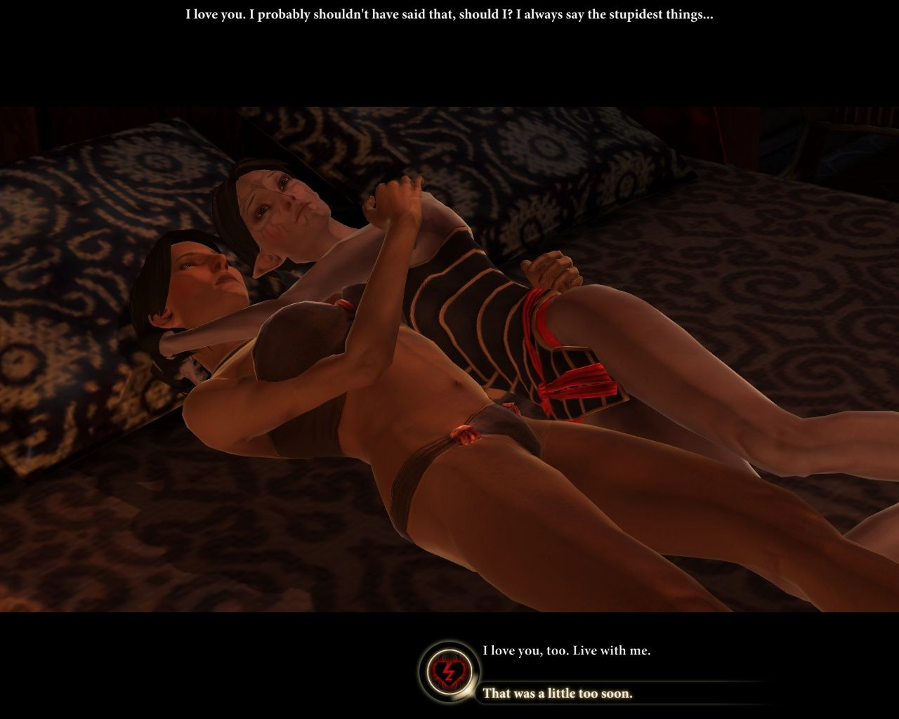 "Dragon Age II Windows The best screenshot for this game, ever, trust me!.. And look, you can actually ""break her heart""..."