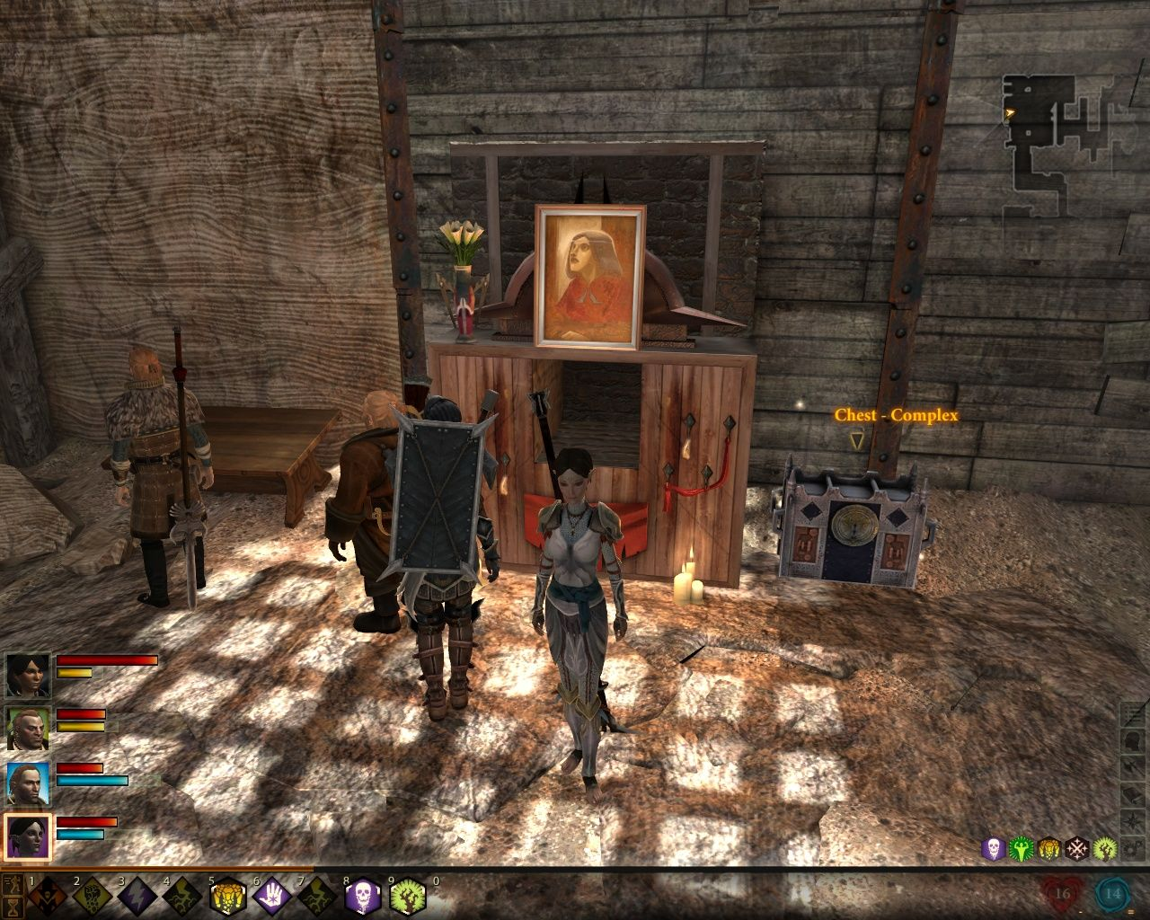 Dragon Age II Windows This quest involves investigating serial murders of women.  You can see a chest with a difficulty level on it. You can also see Merrill in a new outfit - companions get them after completing a romance