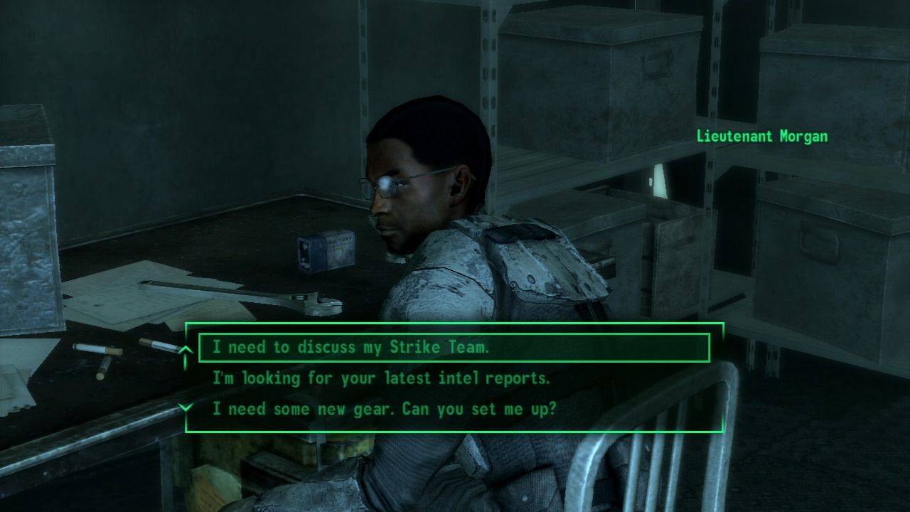 Fallout 3: Operation: Anchorage PlayStation 3 Talking to Lt. Morgan about your team.