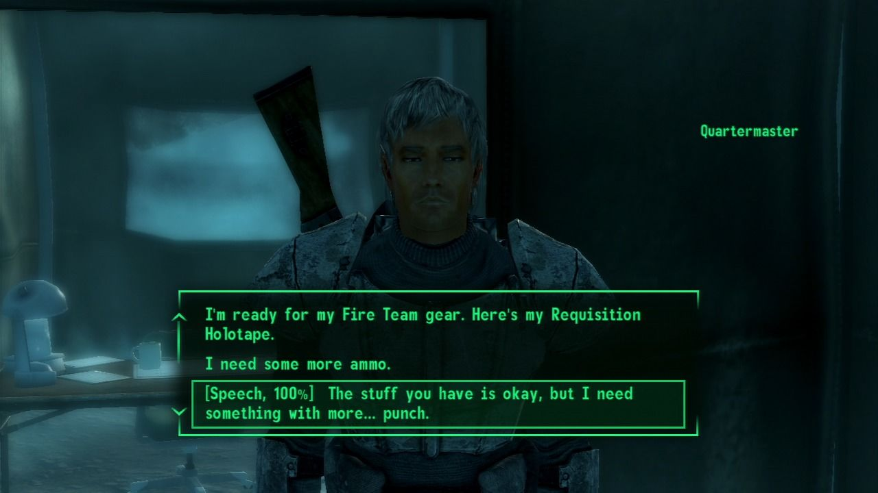 Fallout 3: Operation: Anchorage PlayStation 3 Using high speech level to get some more firepower.