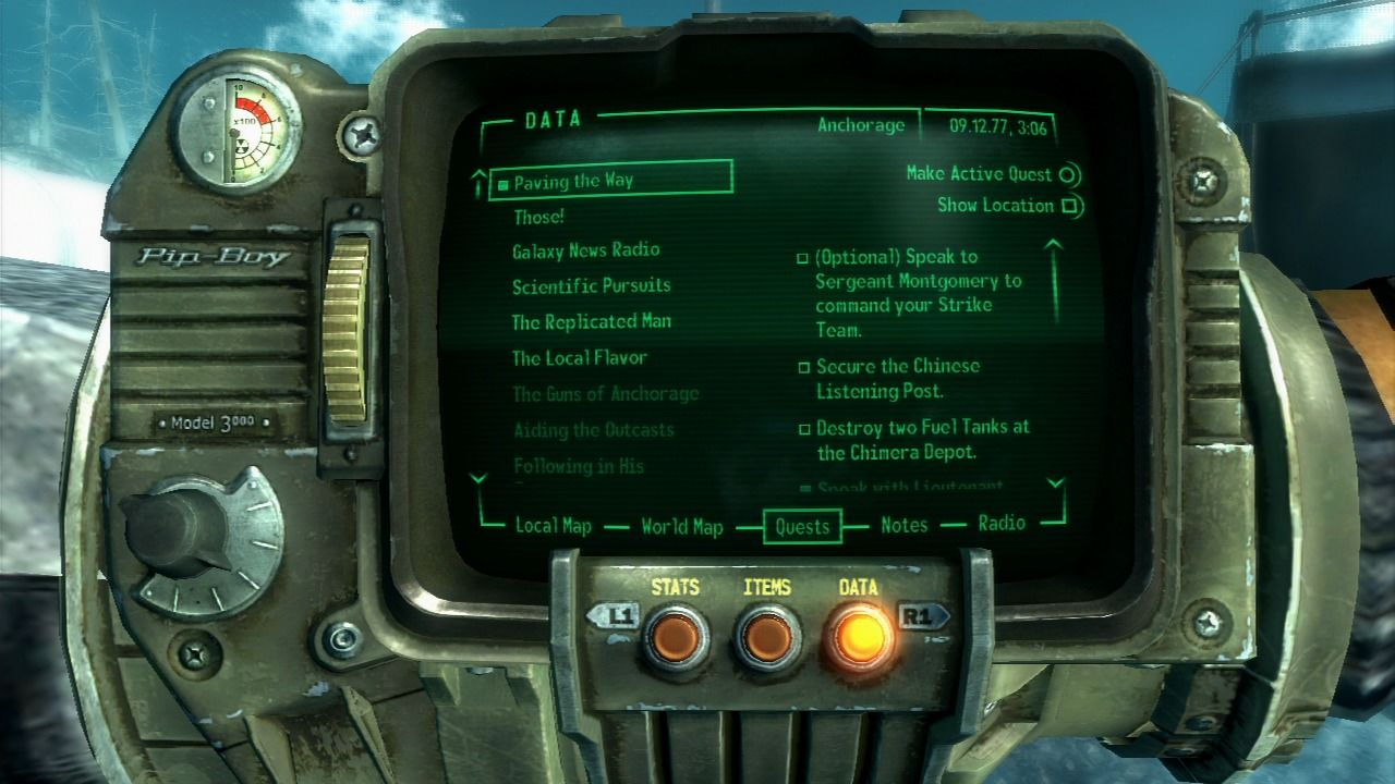 Fallout 3: Operation: Anchorage PlayStation 3 Mission data.