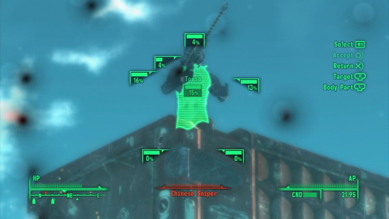 Fallout 3: Operation: Anchorage PlayStation 3 Using V.A.T.S. mode against the enemy sniper.