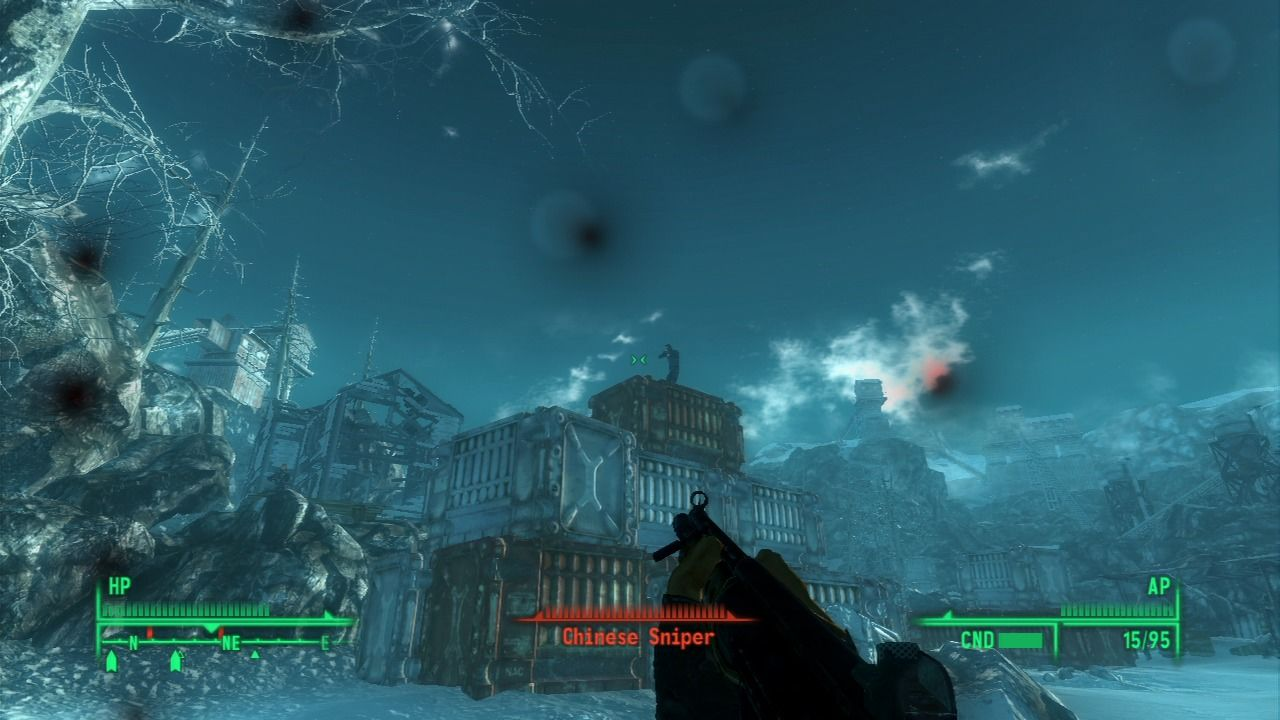 Fallout 3: Operation: Anchorage PlayStation 3 Sniper high at 12 o'clock.