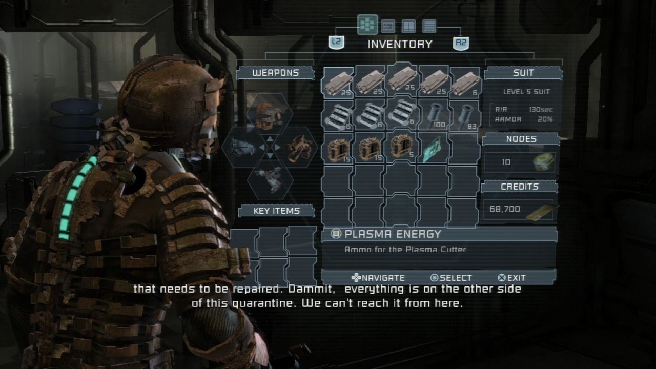 Dead Space PlayStation 3 Inventory and everything is done through your helmet's screen projection.