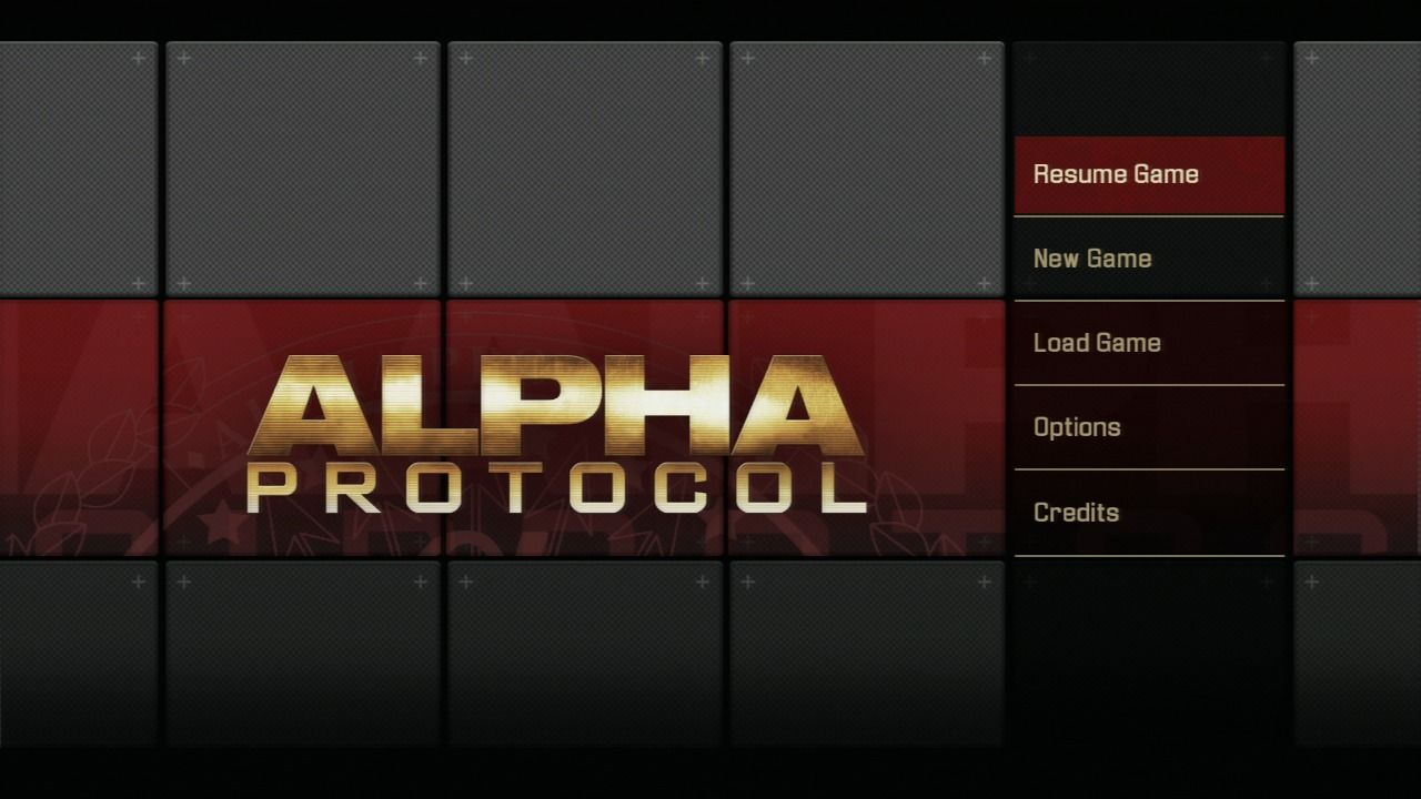 Alpha Protocol PlayStation 3 Main menu.