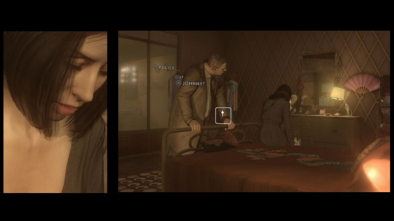 Heavy Rain PlayStation 3 Questioning Lauren about her son's death.