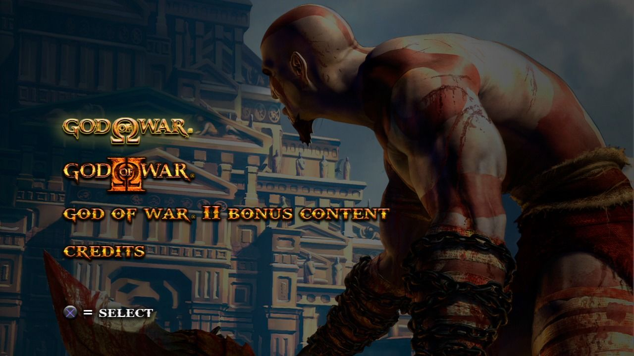 God of War: Collection PlayStation 3 Main menu, GoW selected.