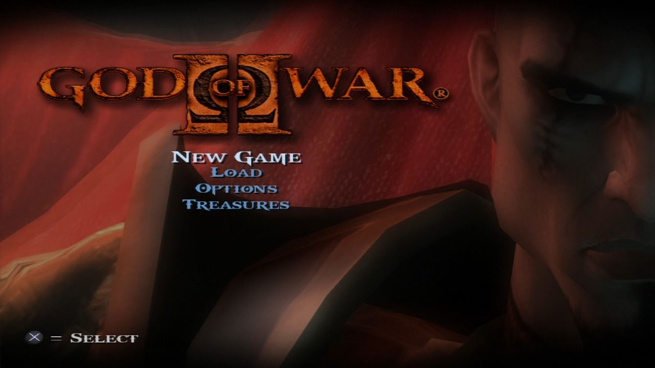 God of War II PlayStation 3 Main menu