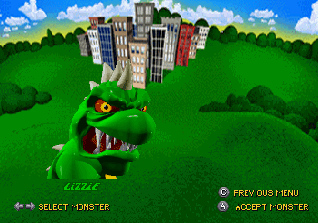 Rampage World Tour SEGA Saturn Pick the monster of your trust.