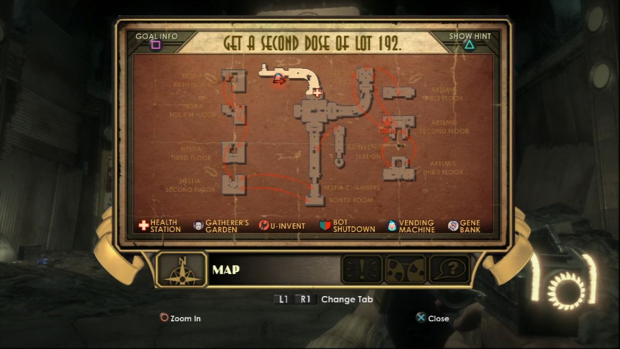 BioShock PlayStation 3 Map is easy to navigate until you reach the branching arrows which are plentiful.