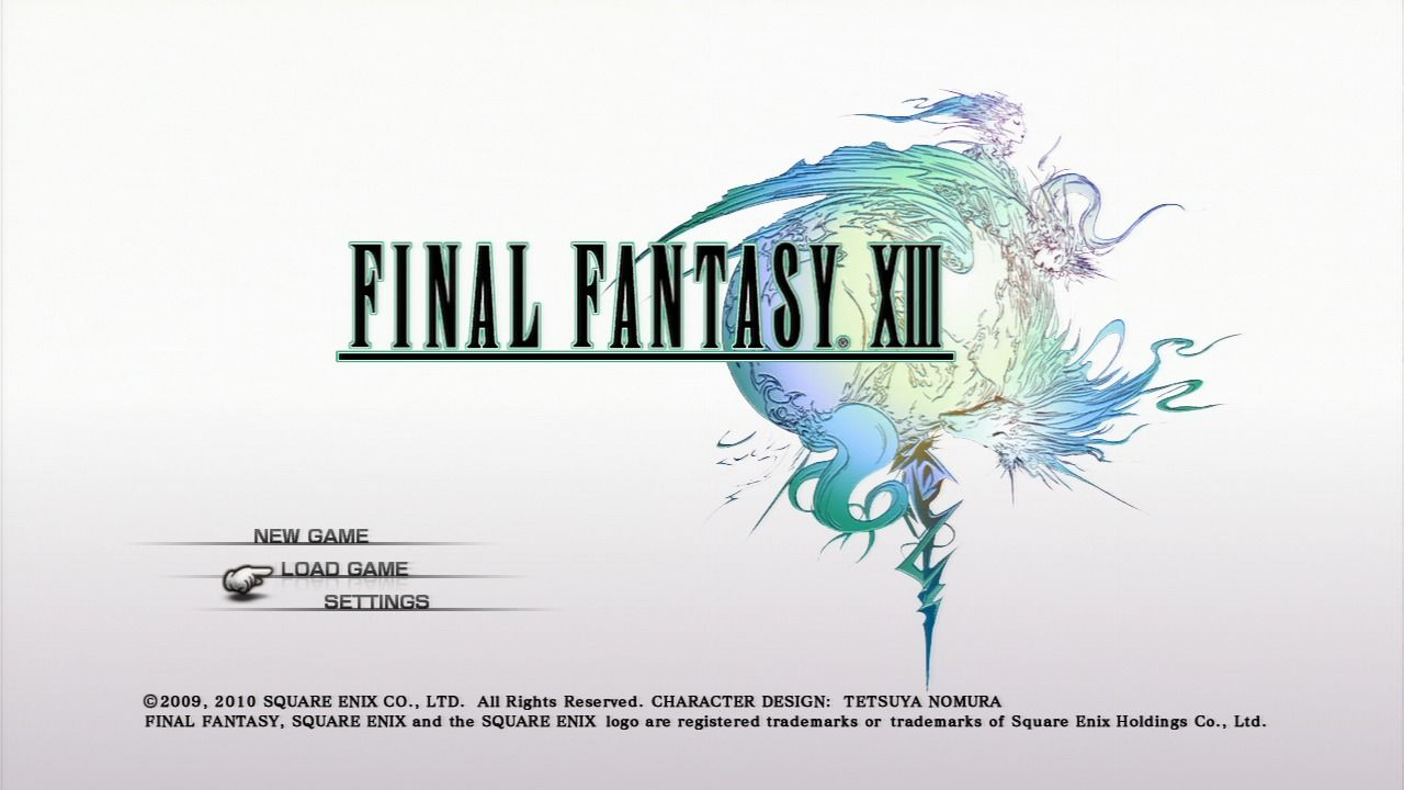 Final Fantasy XIII PlayStation 3 Main menu