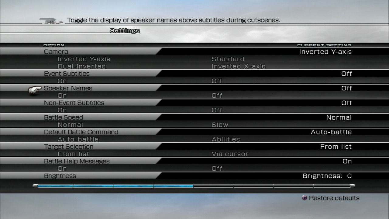 Final Fantasy XIII PlayStation 3 Options screen