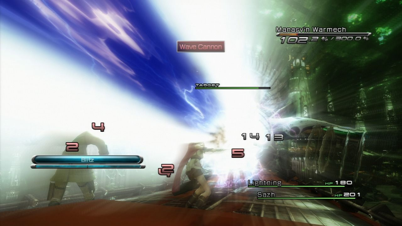 Final Fantasy XIII PlayStation 3 The enemy is firing some beam weapon that hits multiple targets at once.
