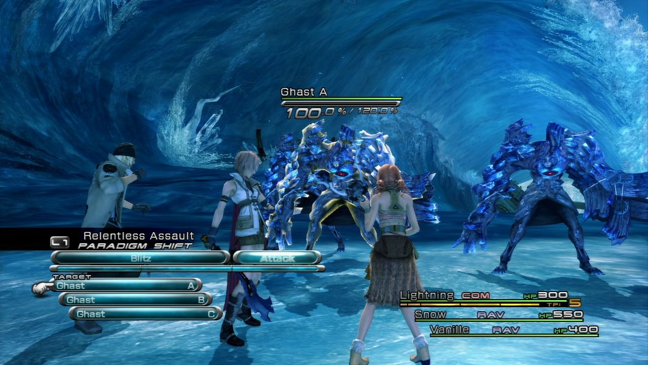 Final Fantasy XIII PlayStation 3 Choose your target and the way of attack each turn.