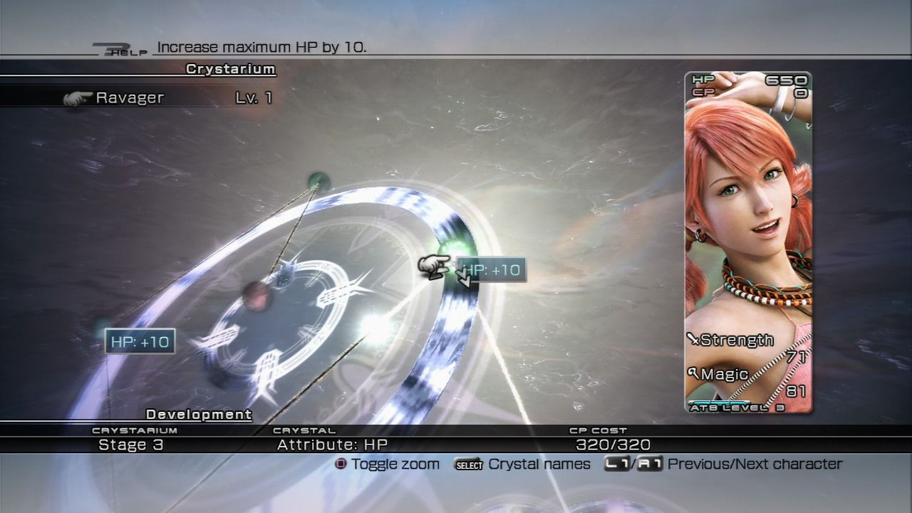 Final Fantasy XIII PlayStation 3 Upgrading your character's class and skills, if you have enough experience points to spend.