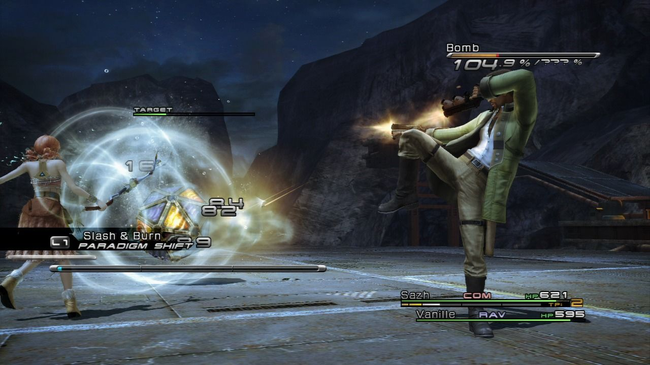 Final Fantasy XIII PlayStation 3 Sazh is always showing off even though his attacks aren't that powerful.