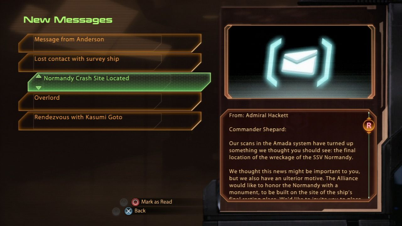 Mass Effect 2 PlayStation 3 Mass Effect 2 - Checking the email on your private terminal... note all of the DLC missions already included