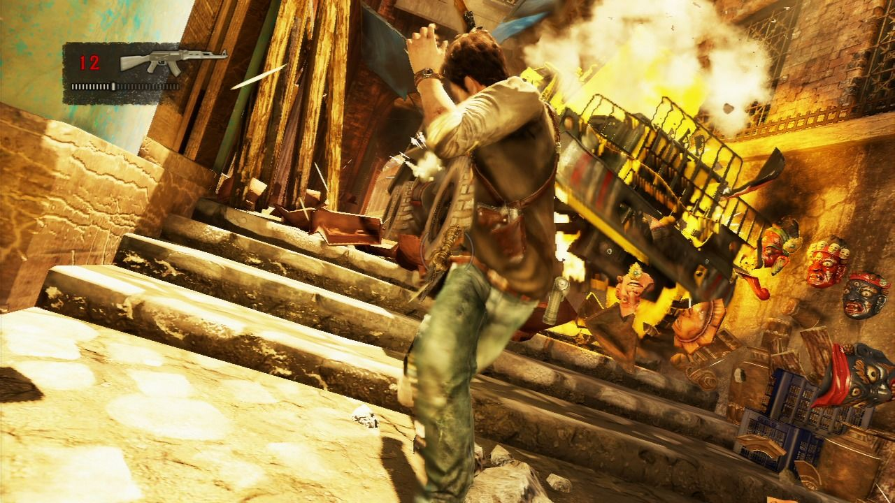 Uncharted 2: Among Thieves PlayStation 3 Chased by a truck in a very tight alley... you have to take it out while trying to escape at the same time.