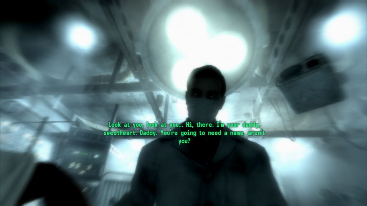 Fallout 3 PlayStation 3 The game starts as you are being born into what's left of the world.