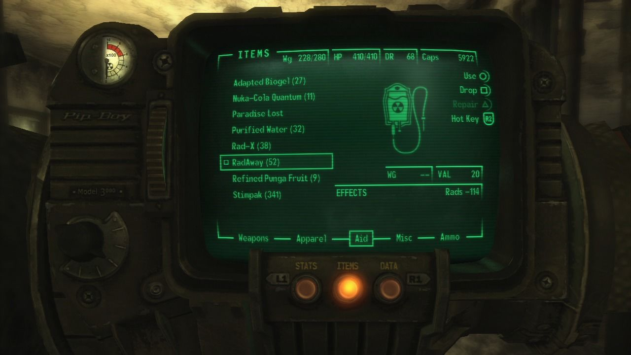 Fallout 3 PlayStation 3 You will use Pip-Boy 3000 to check out inventory, arm yourself, heal the radiation, listen to the radio and for a lot of other things.