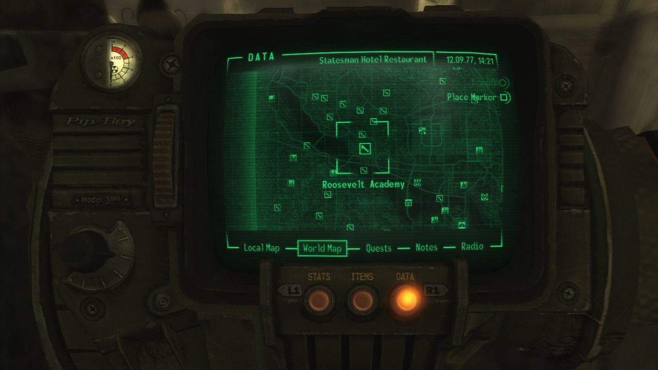 Fallout 3 PlayStation 3 World map has great many location to explore... you can jump-travel to any already-visited location.