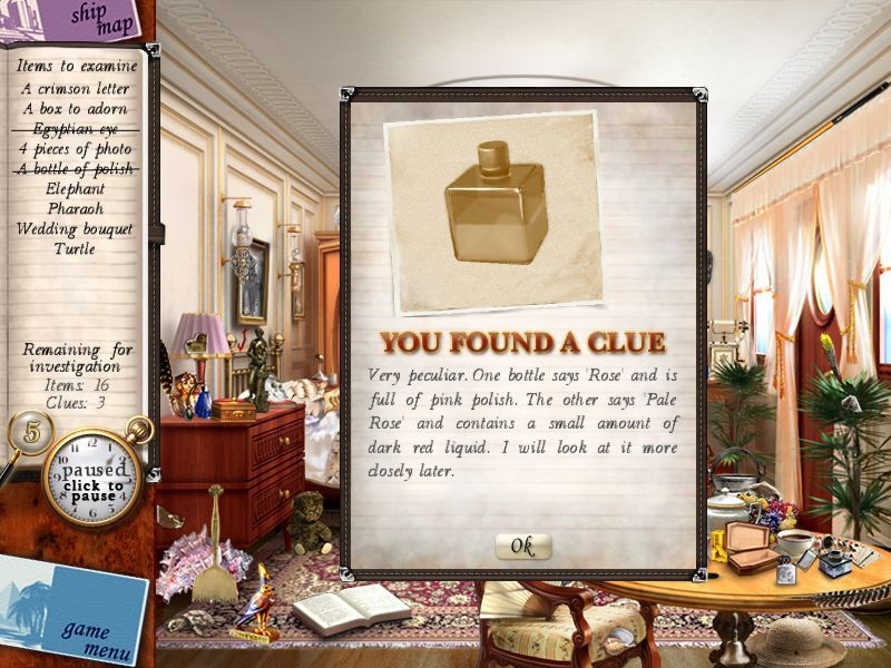 Agatha Christie: Death on the Nile Macintosh Linnet Doyle's cabin - found a clue