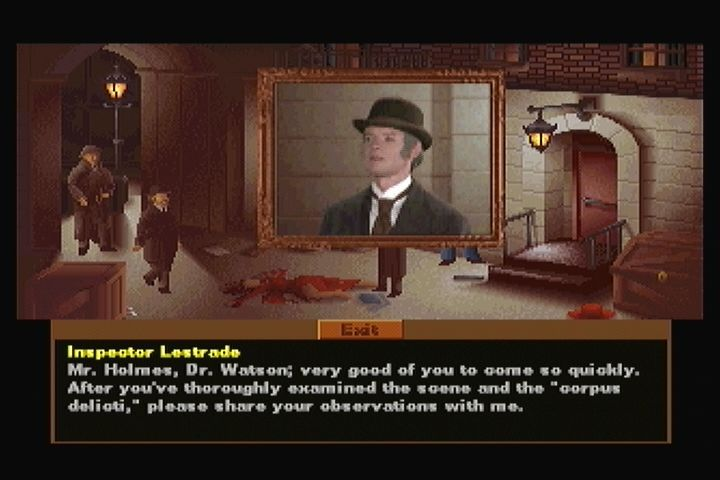 The Lost Files of Sherlock Holmes: The Case of the Serrated Scalpel 3DO Inspector Lestrade welcomes Holmes to the crime scene.