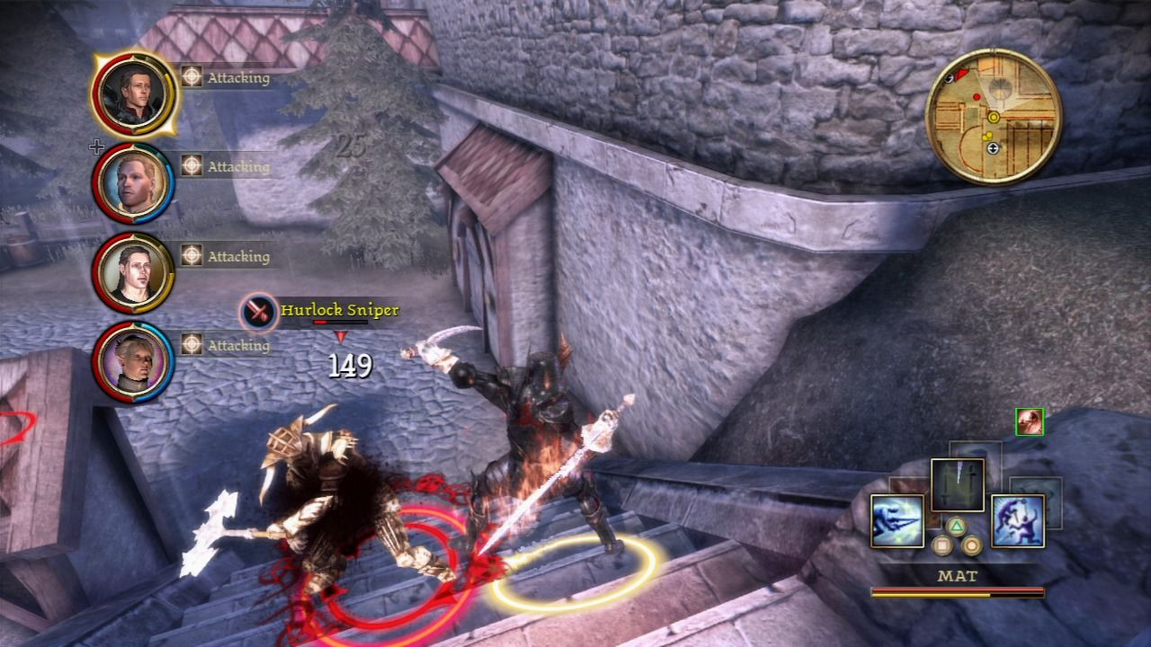 Dragon Age: Origins - Awakening PlayStation 3 Fighting a Hurlock Sniper who is armed with an axe.