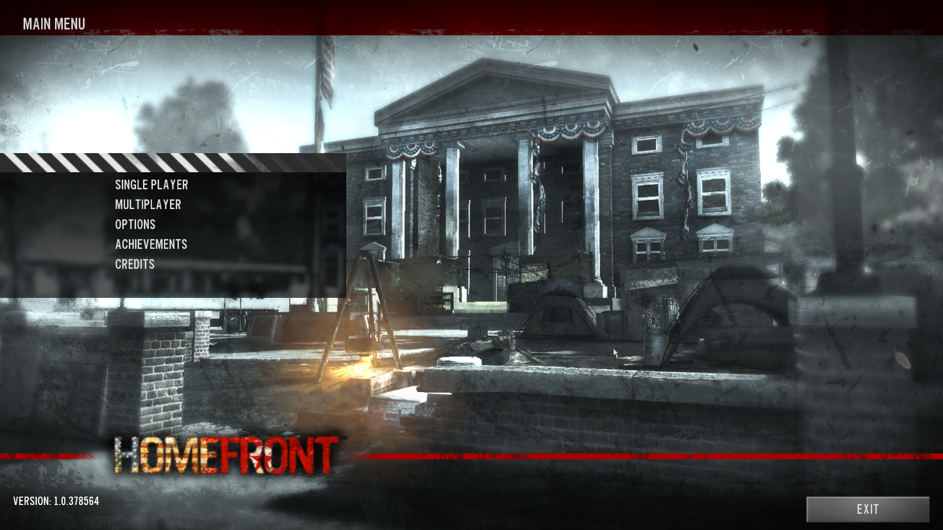 Homefront Windows The main menu