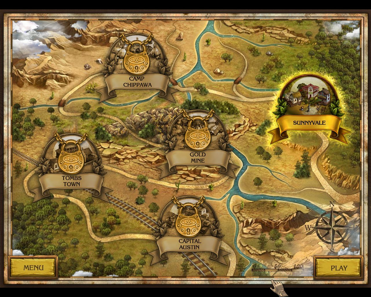 Golden Trails: The New Western Rush Macintosh Locations map