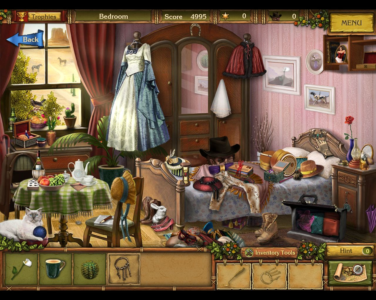 Golden Trails: The New Western Rush Macintosh Mary Stuart Bedroom - Black hat cowboy appears (behind bed) shoot him for hints