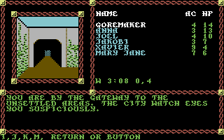 Pool of Radiance Commodore 64 At the entrance to the Slums.