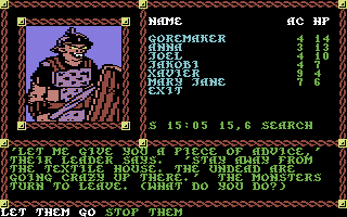 Pool of Radiance Commodore 64 A piece of advice from an orc patrol leader.