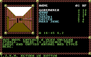 Pool of Radiance Commodore 64 A filthy stable in the Slums.