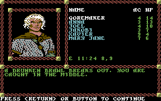 Pool of Radiance Commodore 64 Asshole drunkies in a tavern!