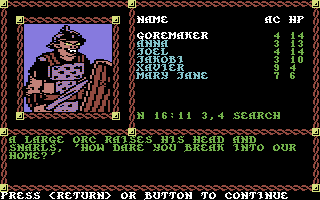 "Pool of Radiance Commodore 64 Some orcs receive an ""Eviction Notice""."